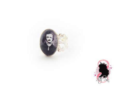 Antique Silver Edgar Allan Poe Ring